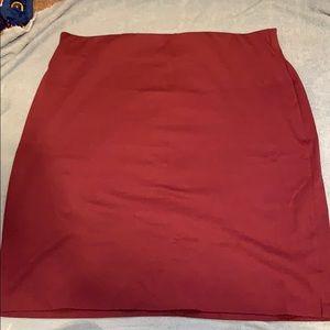 Burgundy stretch pencil skirt